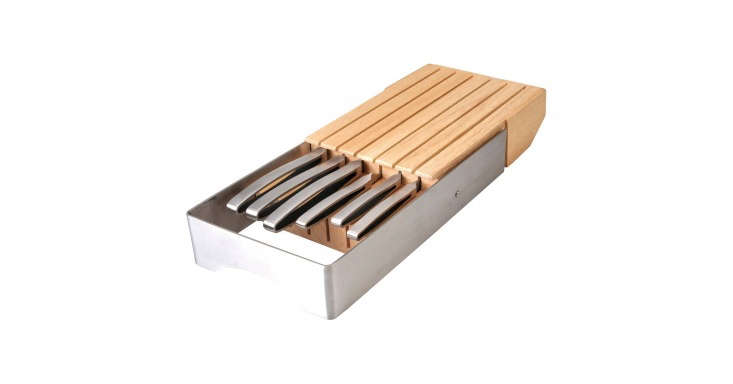 The BergHOFF Neo 7-Piece Drawer Knife Block Set includes six knives in a rubberwood and stainless steel organizer; $199.99 at Target.