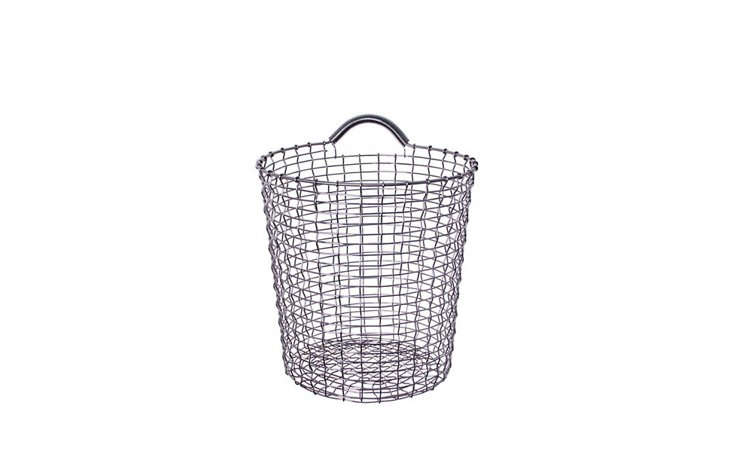 Korbo's handmade wire baskets made our list of best storage basics in Remodelista: The Organized Home for a reason. They're sturdy, well-made, and great-looking. Their one-handled Bins can be conveniently hung up (Korbo makes coordinating Bin Hangers in a range of colors); Bin 18, which stands 18 inches tall, is $150 at Design Within Reach.