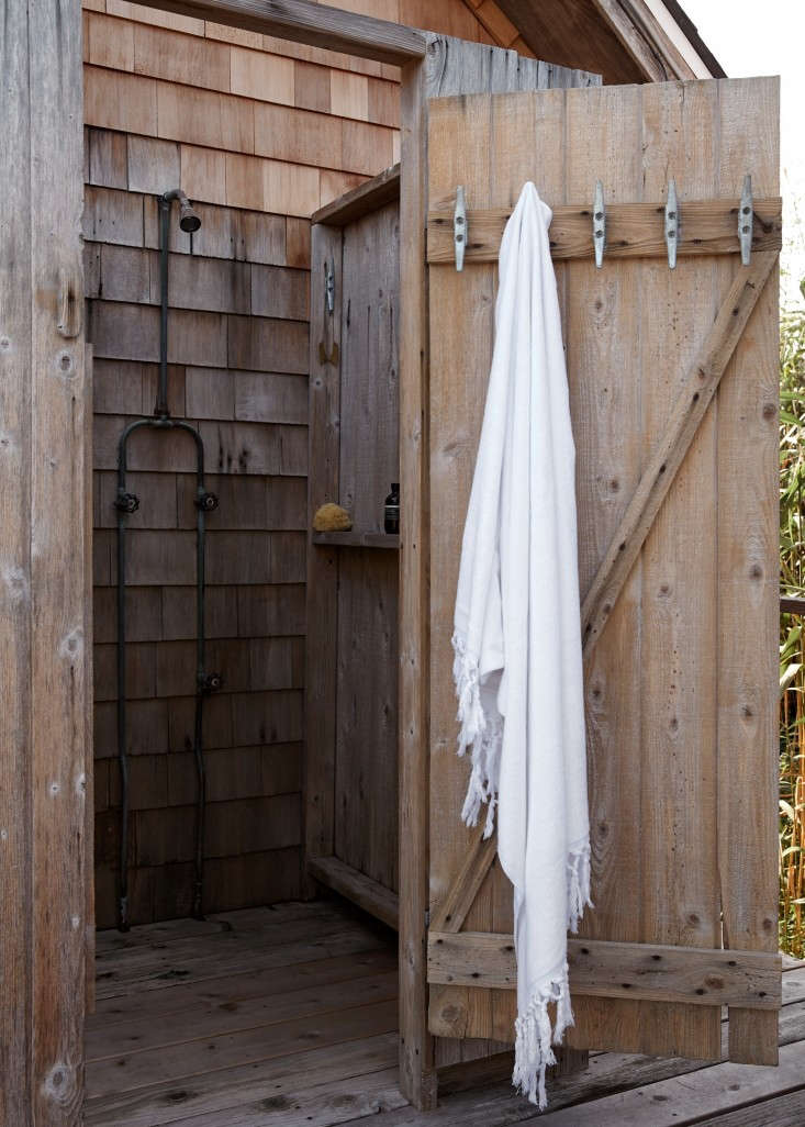 Have outdoor storage needs? Consider weather-proof, hardwearing nautical cleats. The towel hooks Ann and Lori chose for their outdoor shower areGalvanized Dock Cleats; $1.74 each at Boatstore. For more ideas, go toNautical Hardware: 7 Cleats for Home Use.