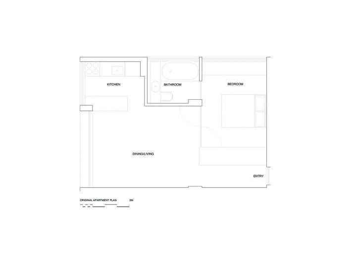 The floor plan of the apartment before the insertion of the bookshelf and cabinet.