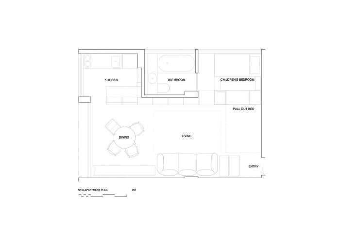 The floor plan with Gill's additions detailed.