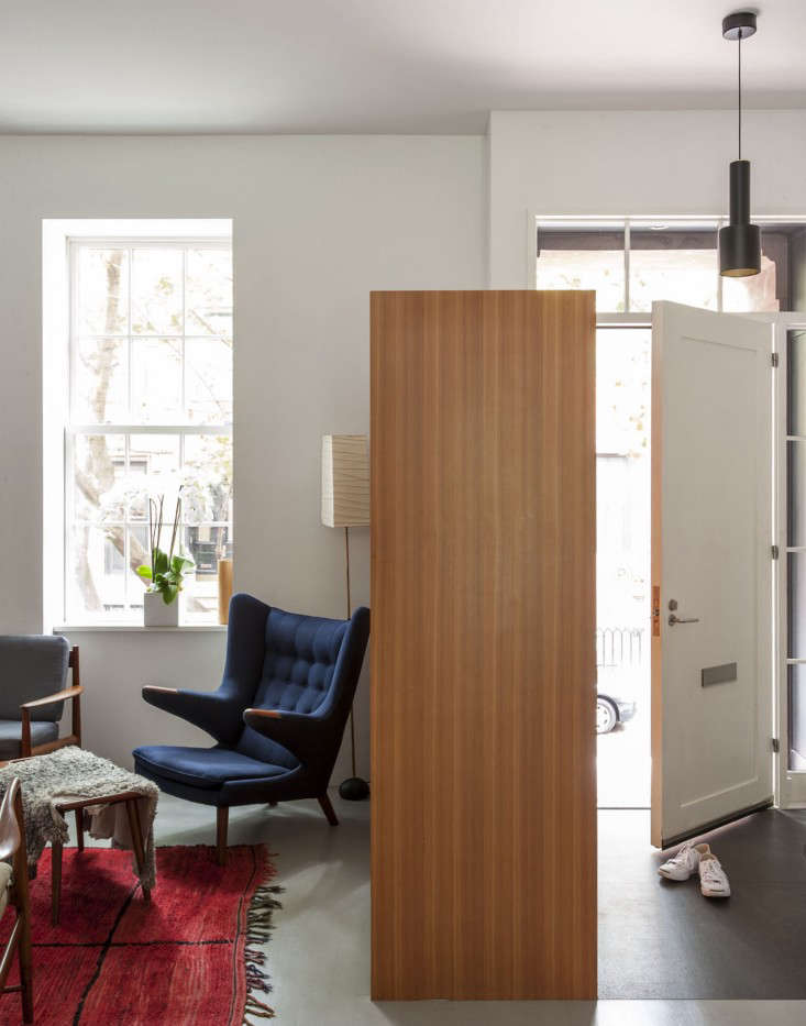 Brooklyn-town-house-remodel-front-door-living-room-Fernlund-and-Logan-Remodelista