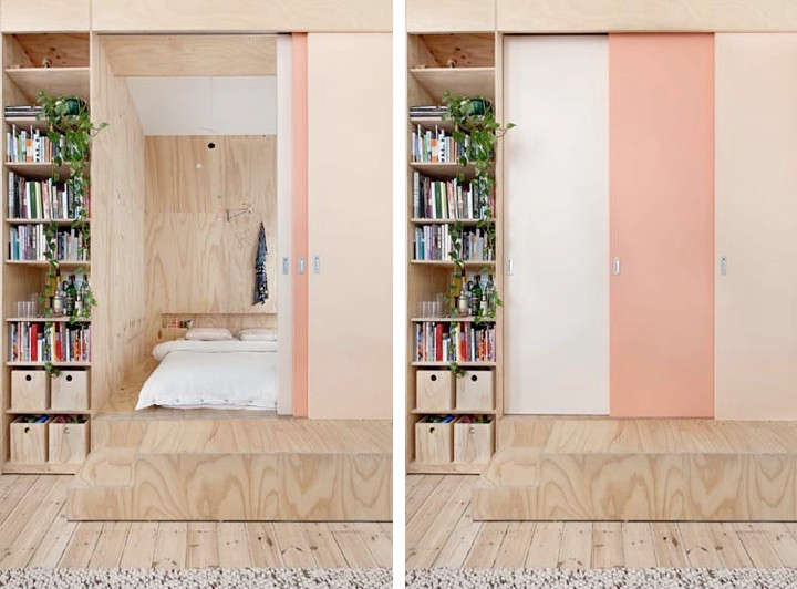 A set of sliding doors painted in three shades of pink pulls across the bedroom for additional privacy. Photography by Lisbeth Grosman via Desire to Inspire.