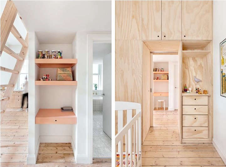 Above L: Shelves inserted in a hallway niche by the bathroom. Above R: A plywood wall of cabinets and a dresser in the child's room. Photography by Lisbeth Grosman via Desire to Inspire.