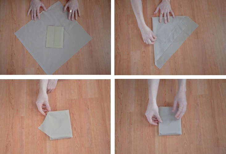 Above (clockwise from top left): Place a card at a diagonal in the center of the cloth. Fold two corners over the card to create a point (like the shape of a party hat) on one side of the card. Next, fold the sides in on a straight line as if you were forming an envelope. Fold the bottom end of the triangle over to create the bottom of the envelope, and finish by tucking in the point.