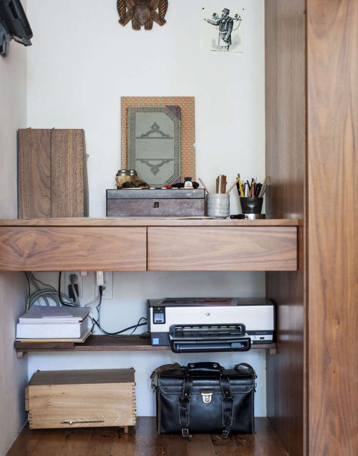 A dual printer and scanner tucked away in Dagmar Daley's Disappearing Home Office. Photograph by Matthew Williams for Remodelista.