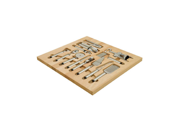 "Häfele's wood drawer organizers come outfitted with corresponding tools. Sets range from the small ""Art of Cooking"" set, to the large, ""Master Chef Collection"" shown here. Contact Häfele's US outpost for pricing and ordering information."