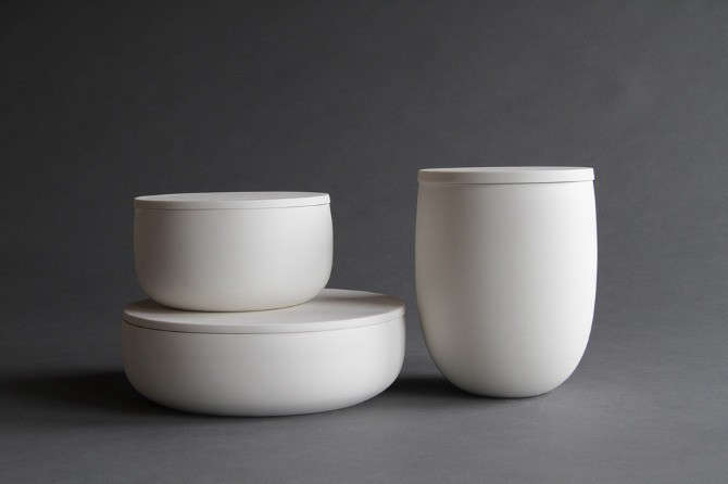 Portland, Oregon, studio potter Lillith Rockett makes these wheel-thrownFlat-Lidded Ceramic Containers of translucent porcelain with glazed interiors and unglazed, polished exteriors. For counter display and table use, an Extra-Small Container is $120.