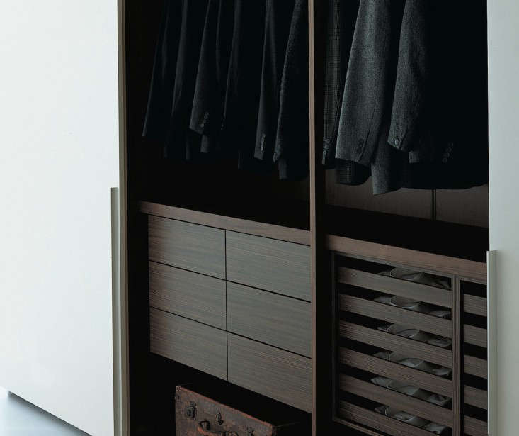 "SF Bay Area designer Nicole Hollis loves Italian design house Porro for their stylish systems. Says Hollis, ""They have cutting-edge hardware and the most beautiful finishes and colors."" The Scorrevole system shown here is meant to be a walk-in closet that takes the shape of a wardrobe. Photo via Porro."