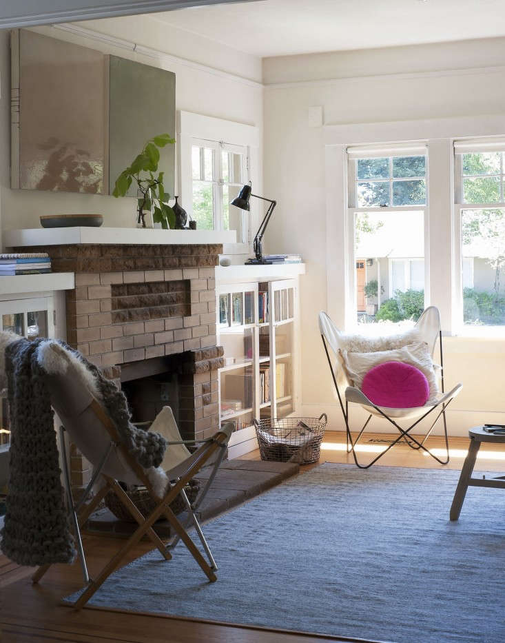 In a laidback California home, you can never have too many baskets. Sarah uses a Korbo wire basket to hold newspapers.