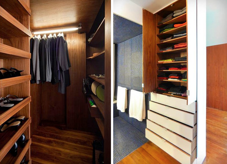 "In a client's 650-square-foot Chelsea loft, Robert Garneau of Studio Garneau designed an efficient closet and shelving system replete with pull-down rods and door mirrors, all built by a local woodworker. Says Garneau, ""In places like NYC it's often necessary to go custom in order to use every square inch."" For details on the loft and its envy-inducing closets, see The Architect Is In: A Tiny Live/Work Loft Made Large."