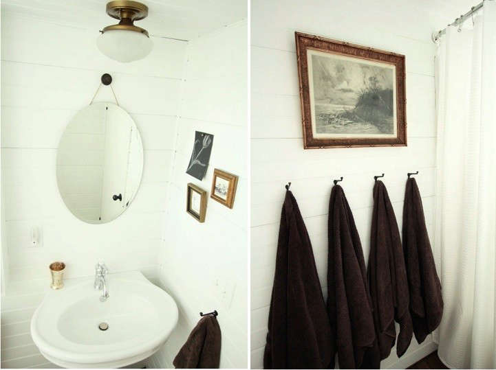 "Above L: For the lone bathroom, Carmella chose a pedestal sink ""for the classic style as well as the visual room it affords."" Above R: ""We've found that using hooks instead of towel bars is a great trick for saving space and for making it easier for the boys to hang their towels (this worked especially well when they were little and towel bars would have been impossible for them)."