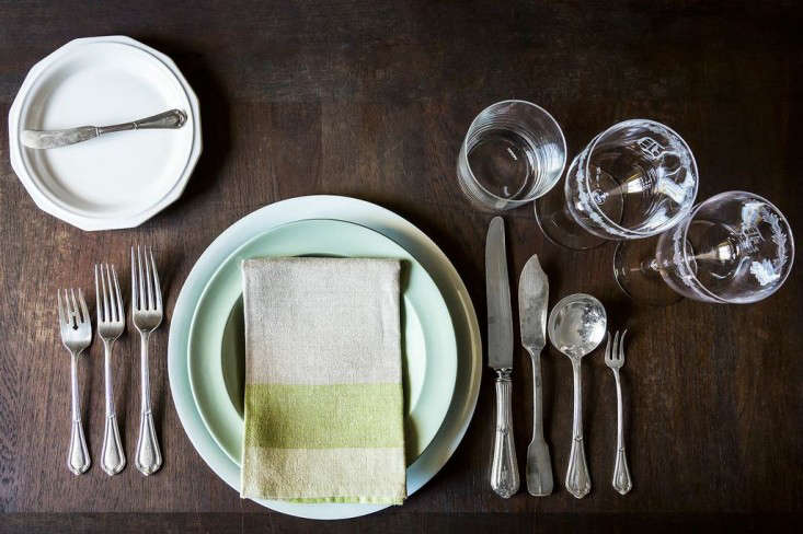 A formal table setting for a mutli-course (imaginary) dinner party.