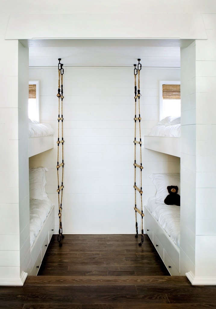 Alabama-based architectsMcAlpine Tankersleyadded a nautical note to a beach house bunk room via a pair of rope ladders. SeeDesign Sleuth: Nautical Rope Bunkbed Ladder.