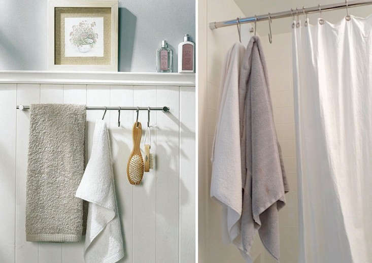 Above L: S hooks lend a towel bar new hanging possibilities. Above R: With the help of S hooks, Sally Schneider of An Improvised Life turns the dead space at the end of her shower bar into extra towel storage.