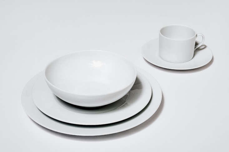 A Five-Piece Table Setting includes a cup and saucer and is $220 for a set of four, a total of 20 pieces, at Snowe. See10 Easy Pieces: Basic White Dinnerwarefor more ideas.