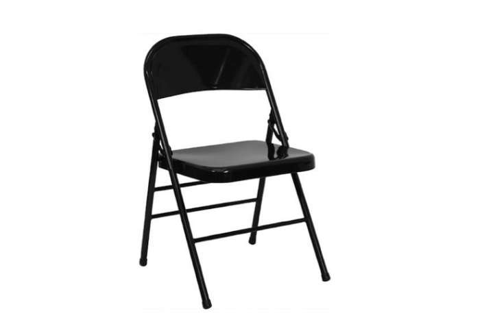 The classic Hercules Black Metal Chair is$11.49 at Folding Chairs 4 Less.