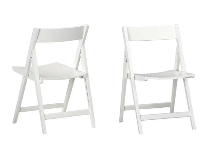 Made in Thailand, the solid rubberwoodSpare White Folding Chair is $40.95 from Crate & Barrel.