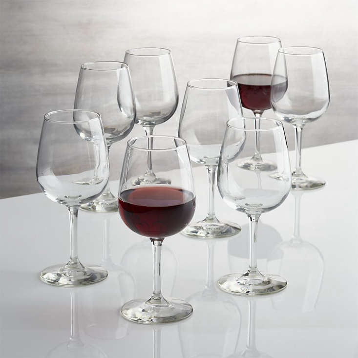 A set of eight basic Wine Glassesis on sale for $23.96 at Crate & Barrel.