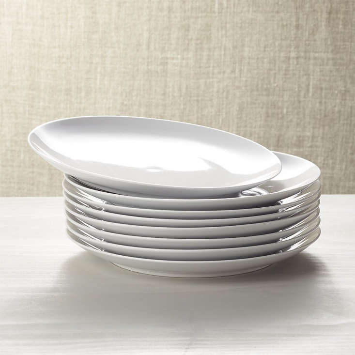 A set of eight Essential Dinner Plates is on sale for $29.56 at Crate & Barrel.