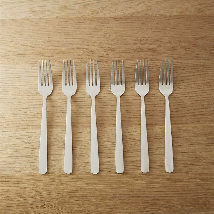 CB2 offers stainless steel Party Forks ($7.96), Party Knives ($11.96), and Party Spoons ($7.96) in sets of six. See more of our flatware favorites: 10 Easy Pieces: Everyday Stainless Steel Flatware.