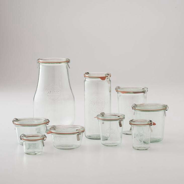 """We singled outWeck Storage Jars from Germany in the Remodelista book as one of our everyday favorites. They come in a variety of sizes (a sampling from Schoolhouse Electric shown here, priced from $3 to $8). Sarah swears by her Weck collection for containing everything from last night's pasta to soup to dried beans. She also likes 16-ounce Ball Jars for storing food, and notes, """"The Weck tops fit on the Ball jars too, so really useful."""""""
