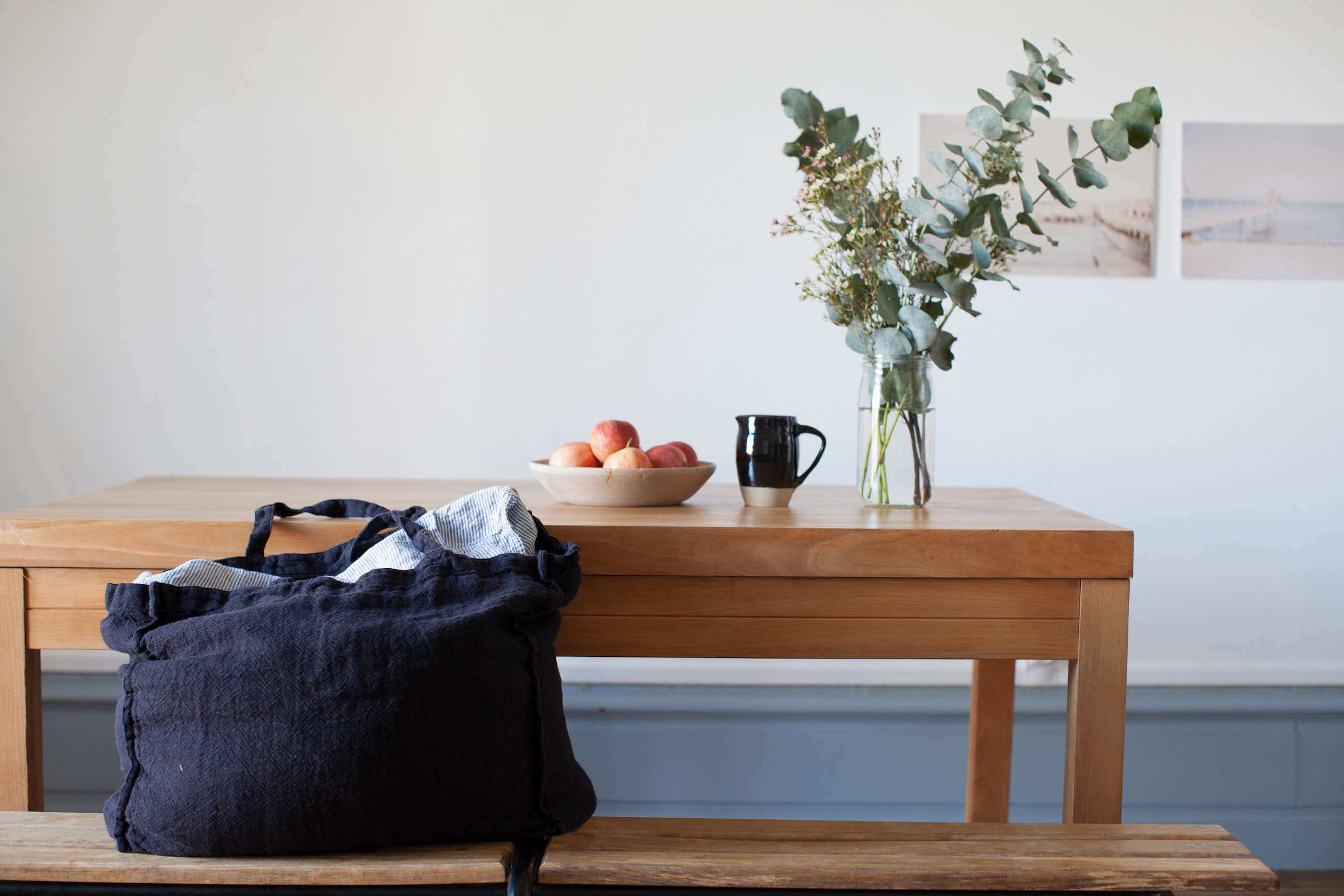 Washed linen tote bag from Le Reperes des Belettes | Remodelista
