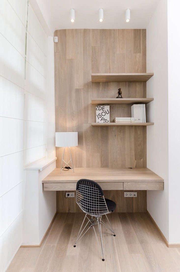 Pale Wood White Desk Niche