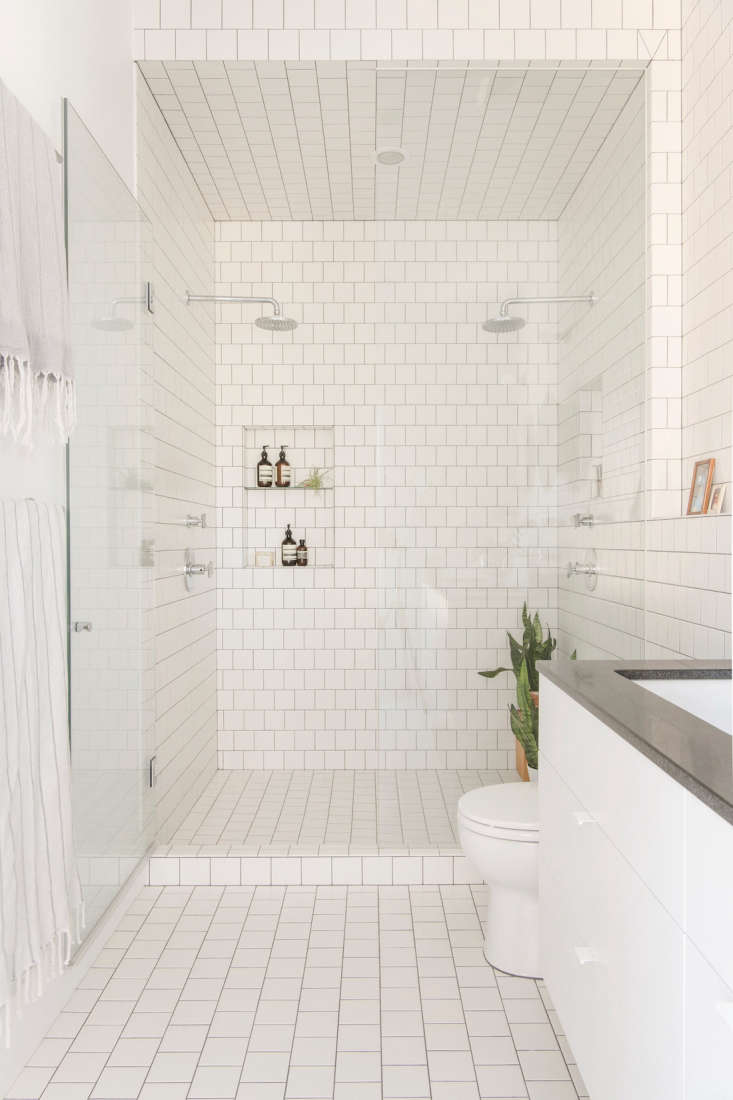 This double shower stall has not one, but two niches. Photograph courtesy of Elizabeth Roberts, fromA Whole-House Overhaul in Brooklyn with a High/Low Mix.