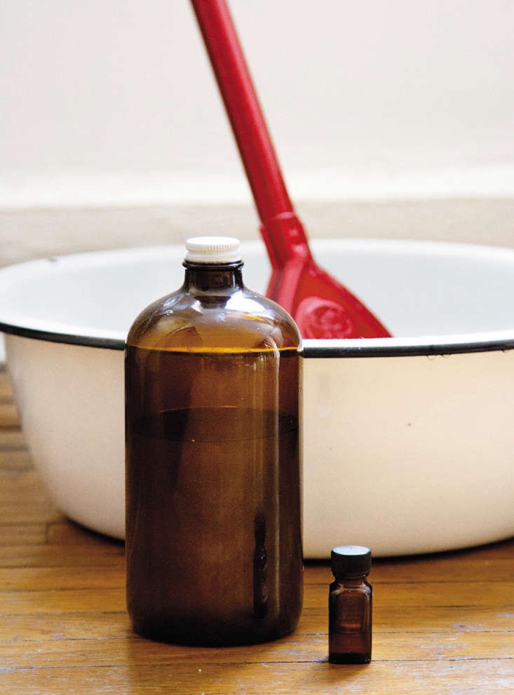 I use my all-purpose cleaner—made with tea tree oil (shown in the small bottle)—everywhere.