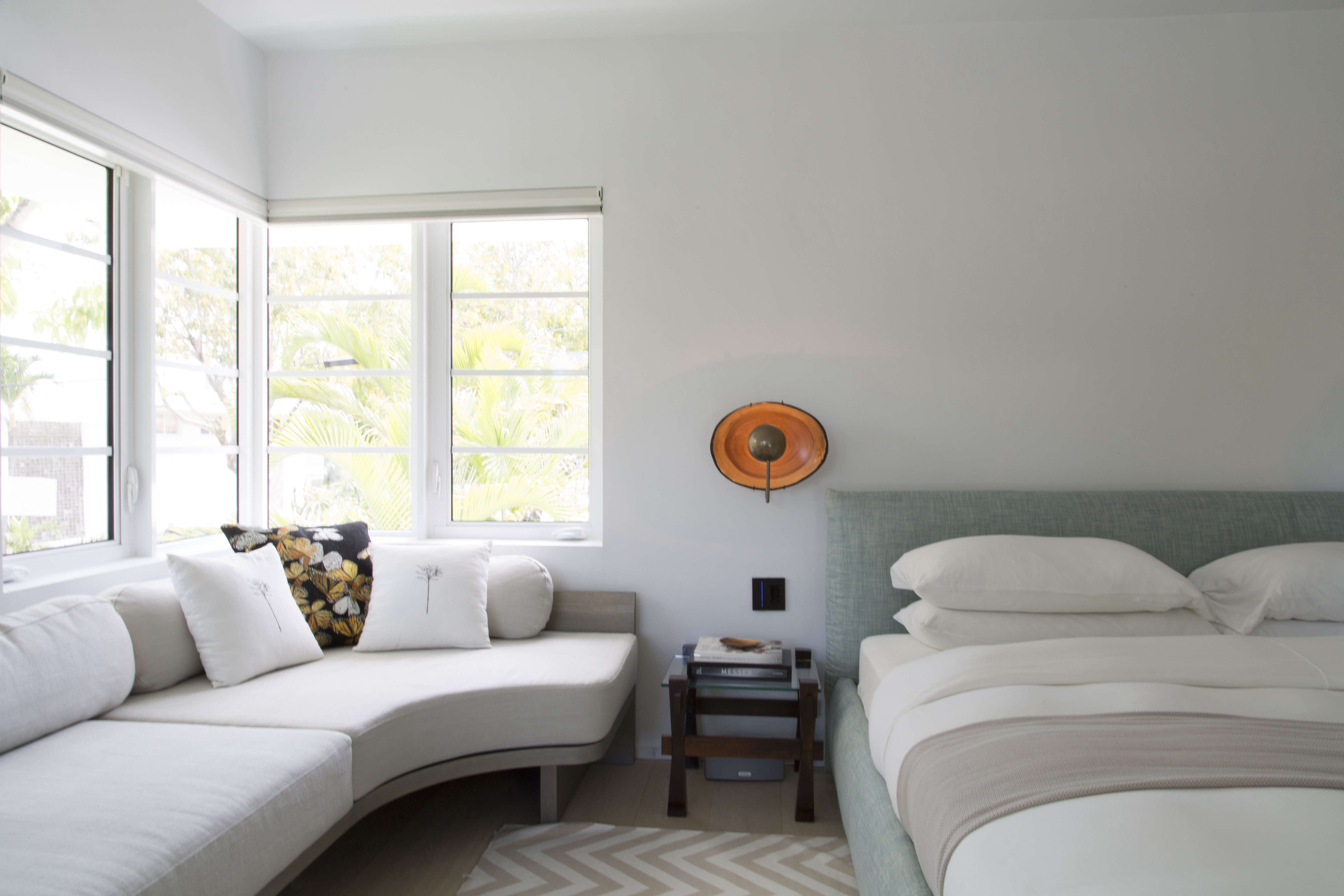Master bedroom in a revived 1932 Miami villa with contemporary furniture dealer Stephan Weishaupt of Avenue Road, Max Zambelli photo   Remodelista