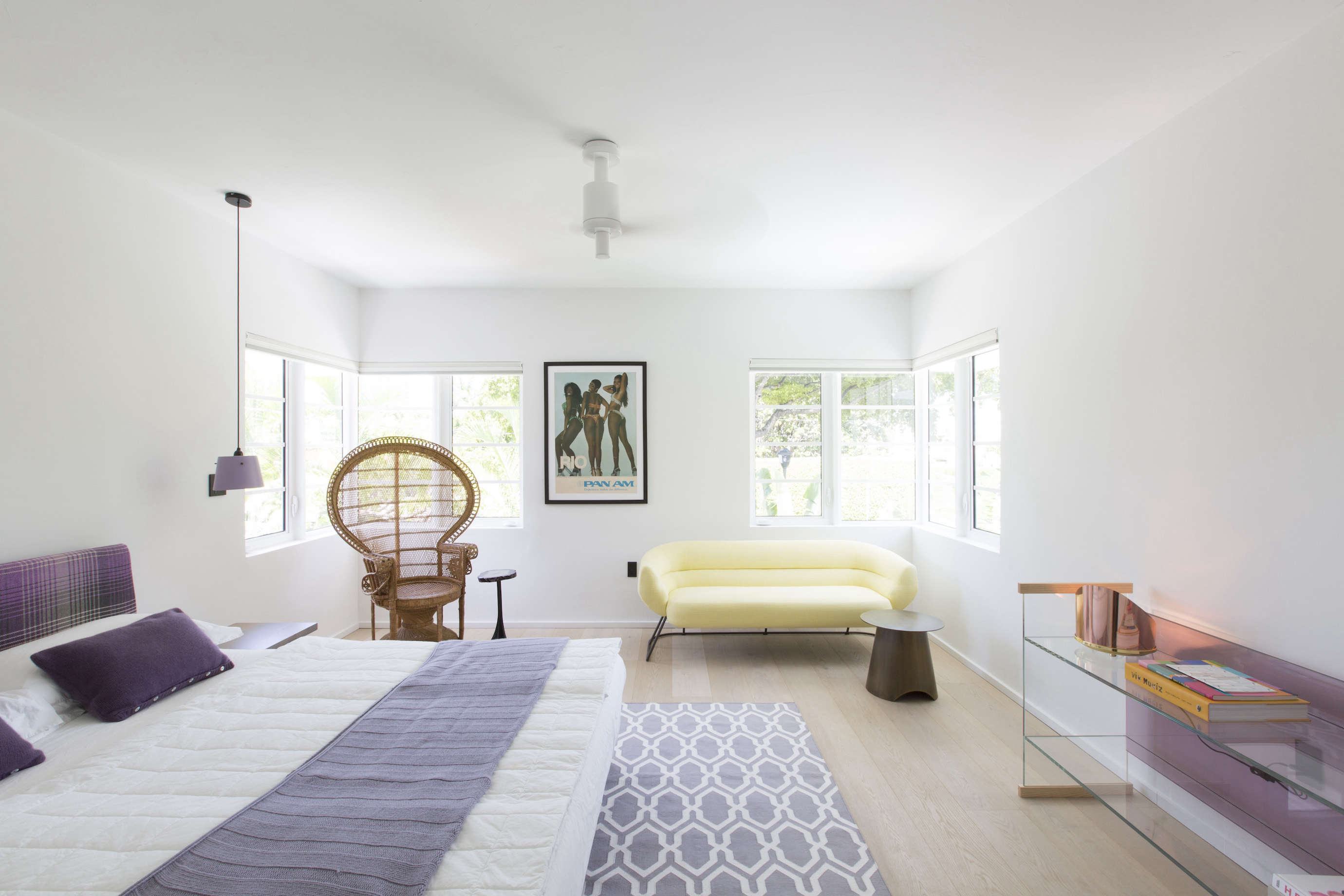 Bedroom in a revived 1932 Miami villa belonging to contemporary furniture dealer Stephan Weishaupt of Avenue Road, Max Zambelli photo   Remodelista