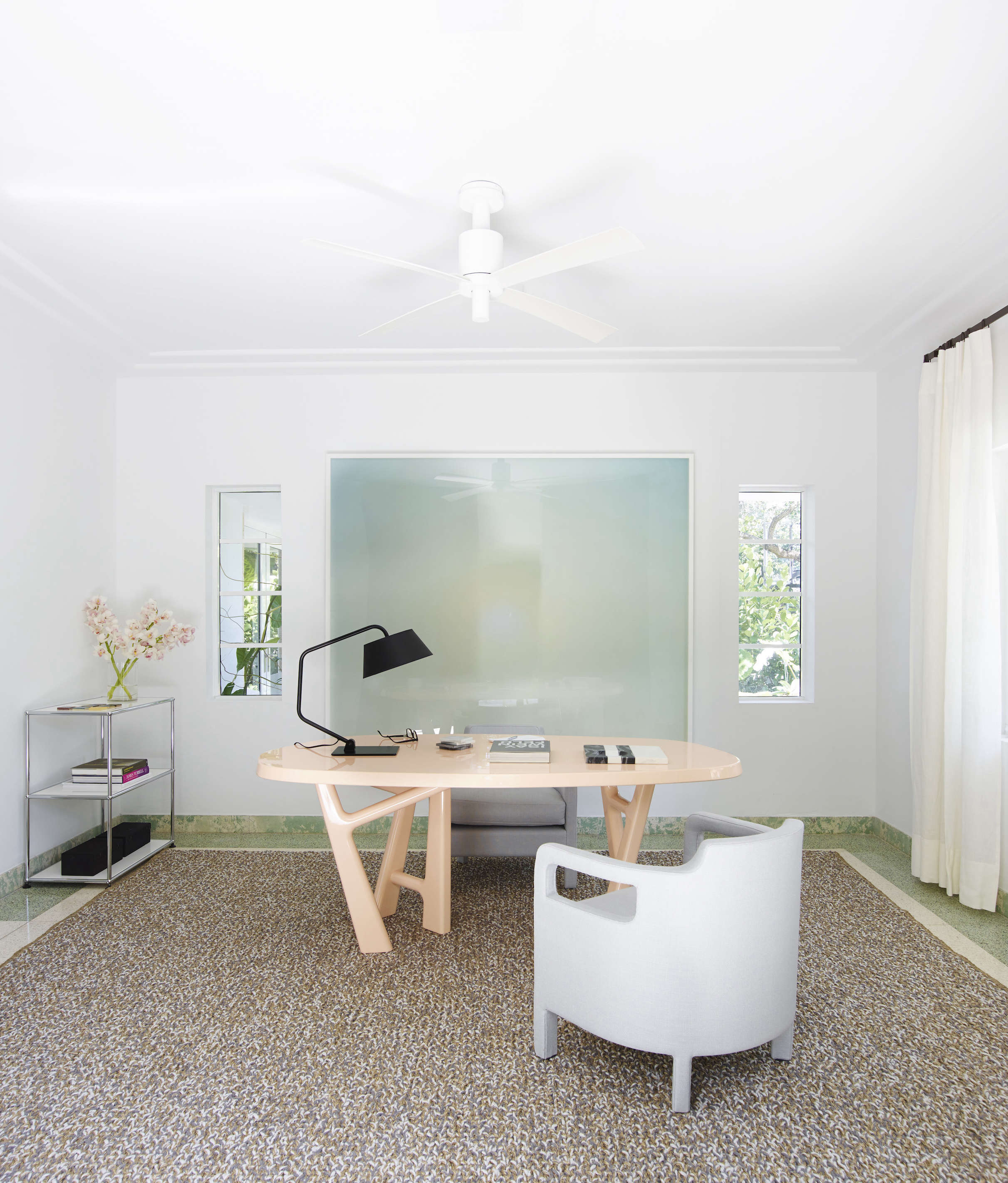 Luxe home office in a revived 1932 Miami villa belonging to contemporary furniture dealer Stephan Weishaupt of Avenue Road, Richard-Powers photo   Remodelista
