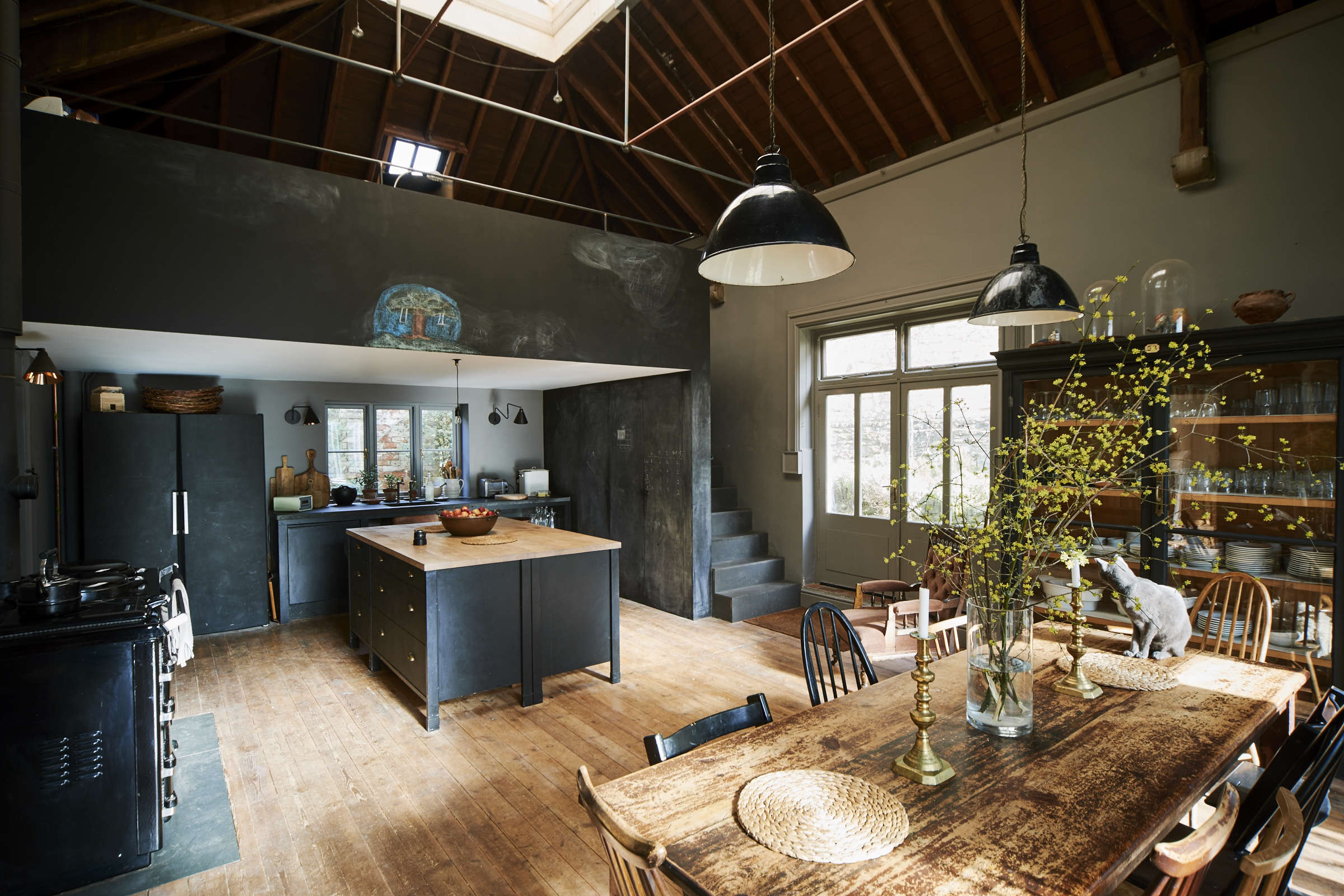 London theater designer Niki Turner's black and gray kitchen in a former billiard room in a historic house in Gloucestershire | Remodelista