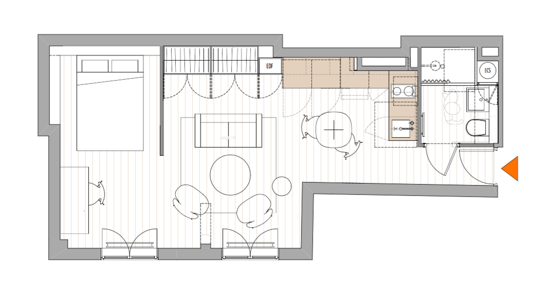 Two-room apartmentt floor plan by Philippe Harden for Montparnasse pied-a-terre |Remodelista