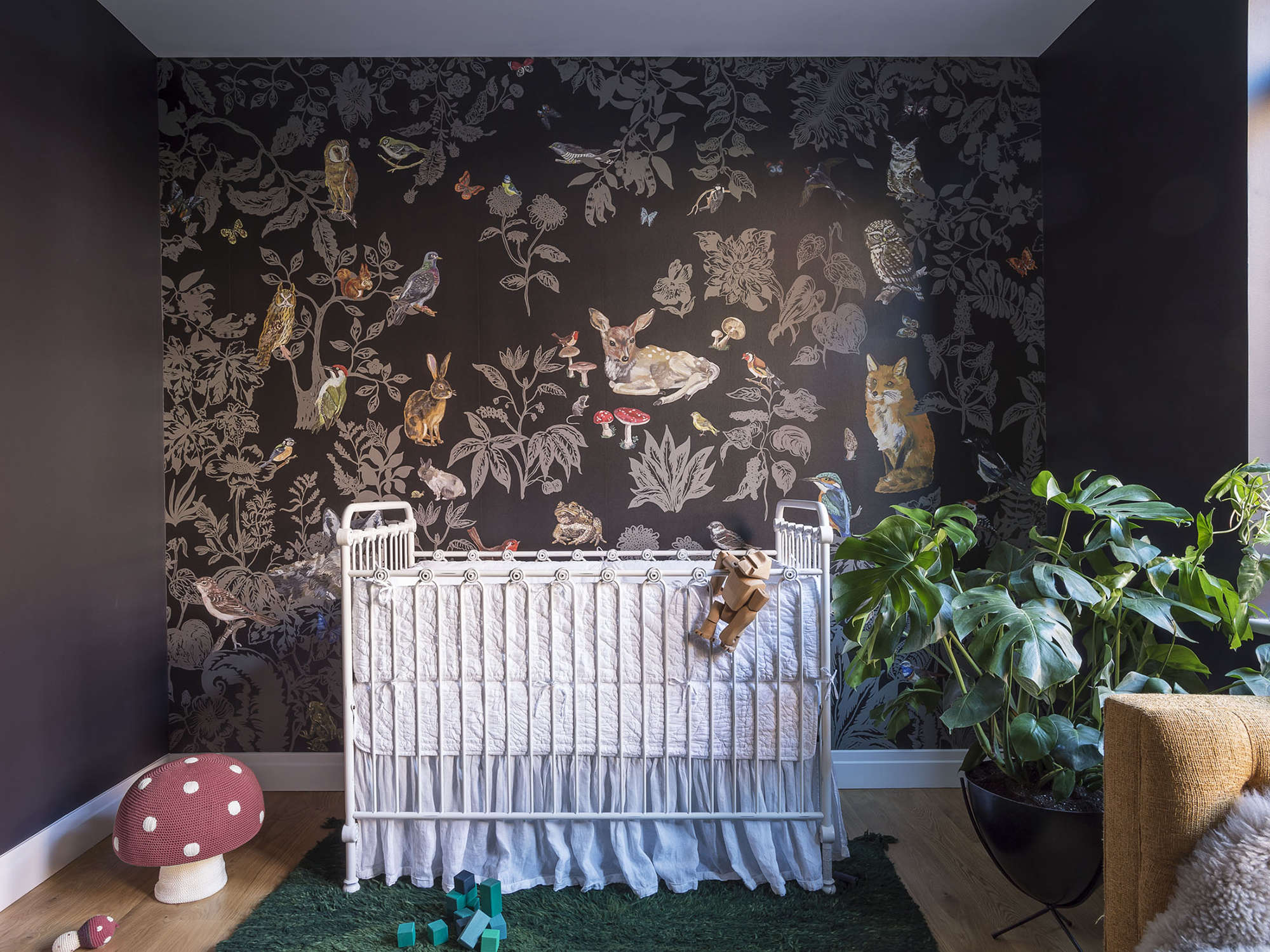 Woodland wallpaper in the baby's room of an apartment designed by Workstead, Matthew Williams photo | Remodelista
