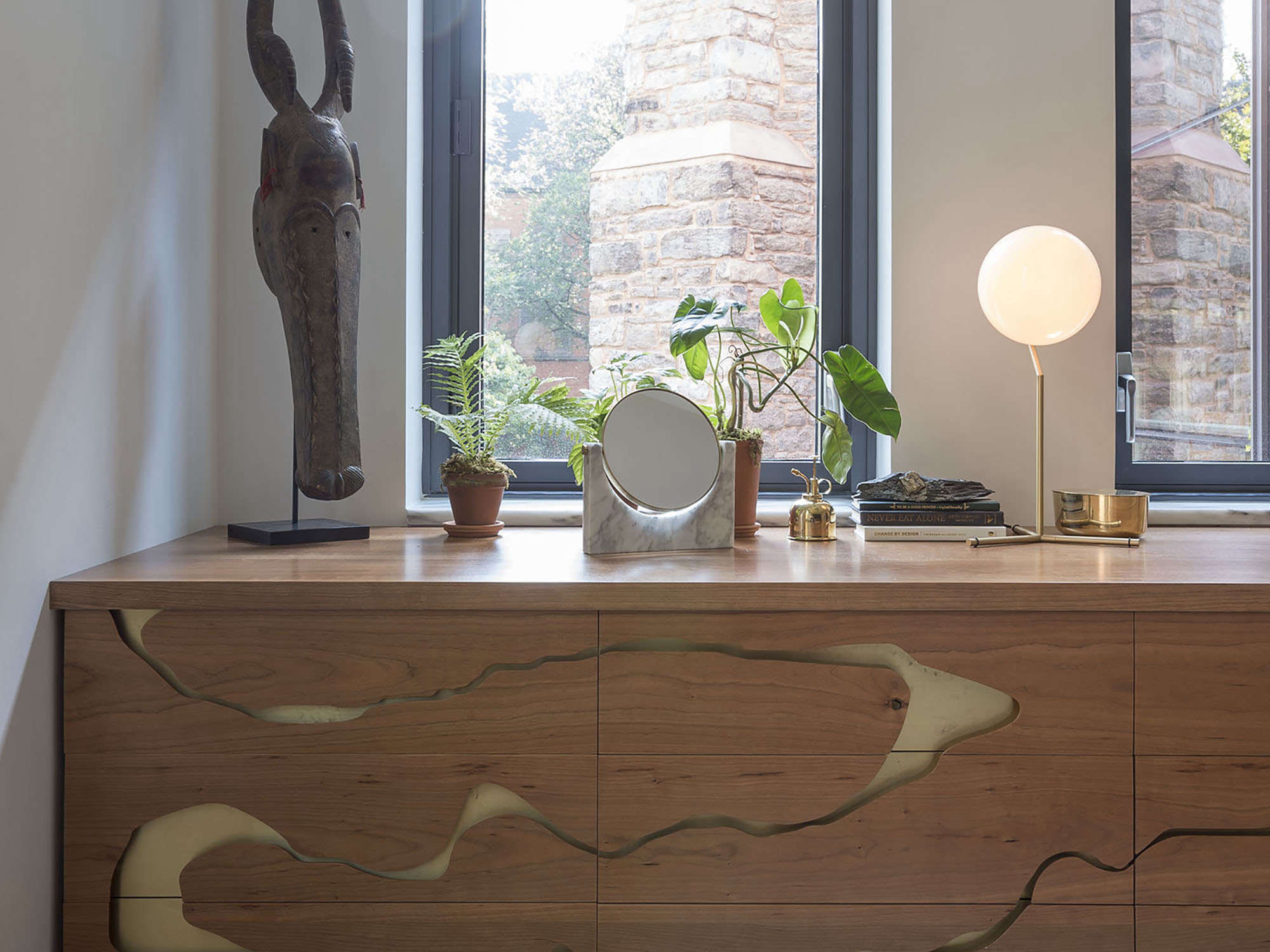 Asher Israelow custom dresser with river cutout pattern in Workstead-designed Chelsea apartment | Remodelista