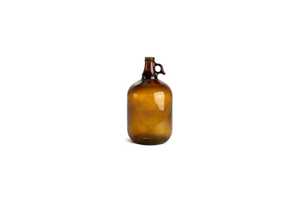 My World Hut Amber Glass Bottle