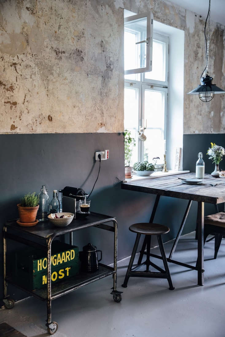 A vintage cart serves as the coffee station. Photograph byLaura Muthesius, courtesy of Our Food Stories, from Kitchen of the Week: A DIY Ikea Country Kitchen for Two Berlin Creatives.
