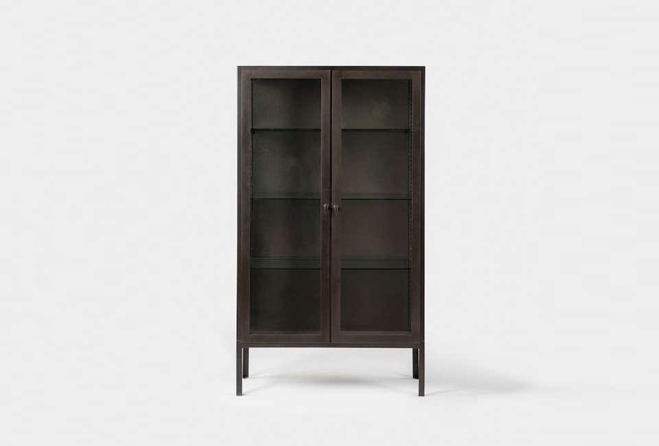 West Elm Blackened Metal Display Cabinet