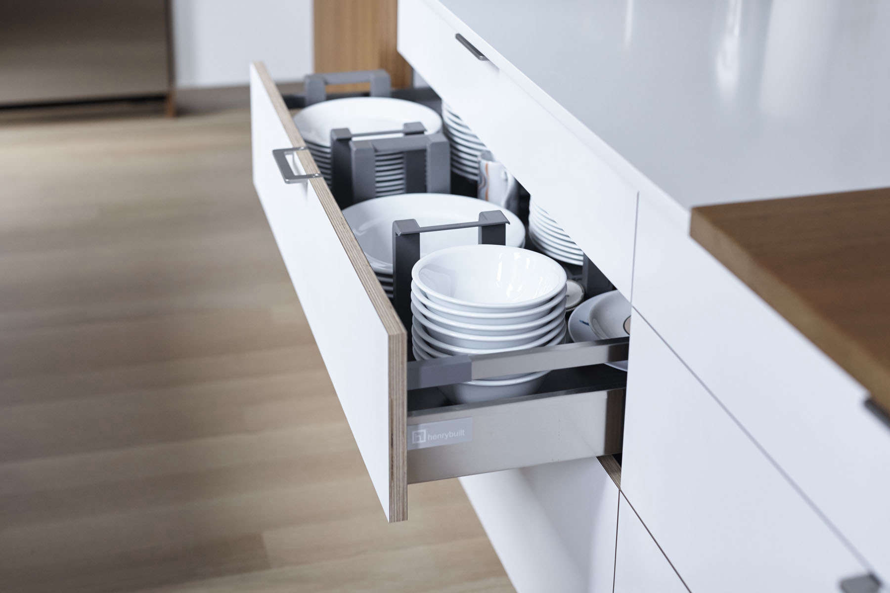 Henrybuilt kitchen drawer fitted with dividers for plates and bowls
