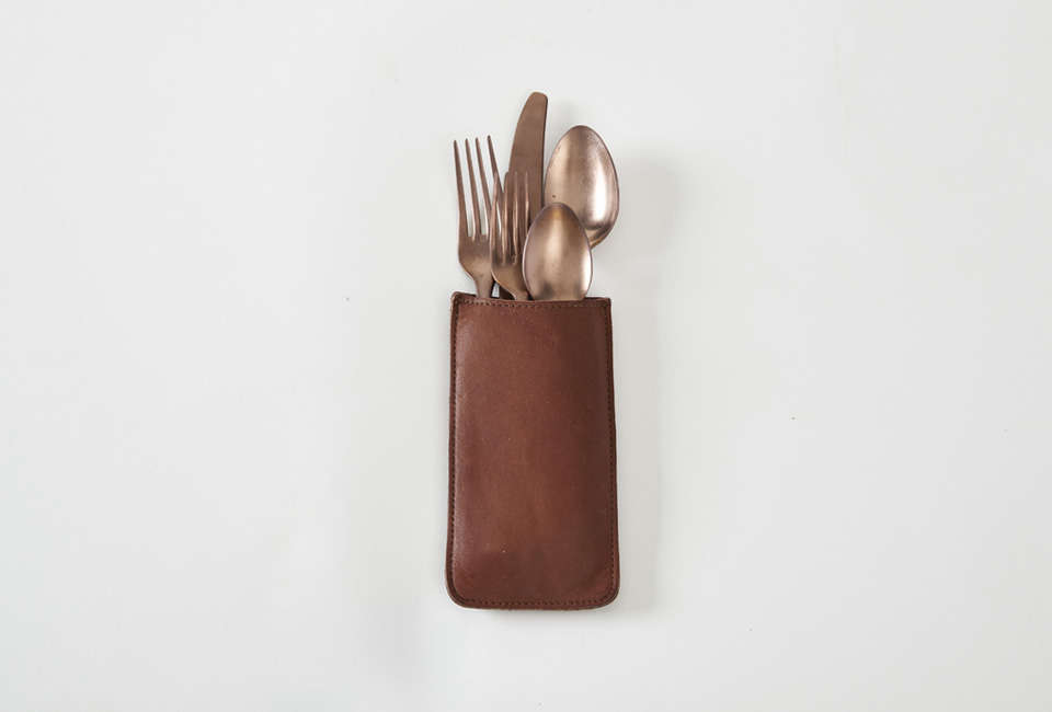 RTH Flatware Pouch in Brown Leather