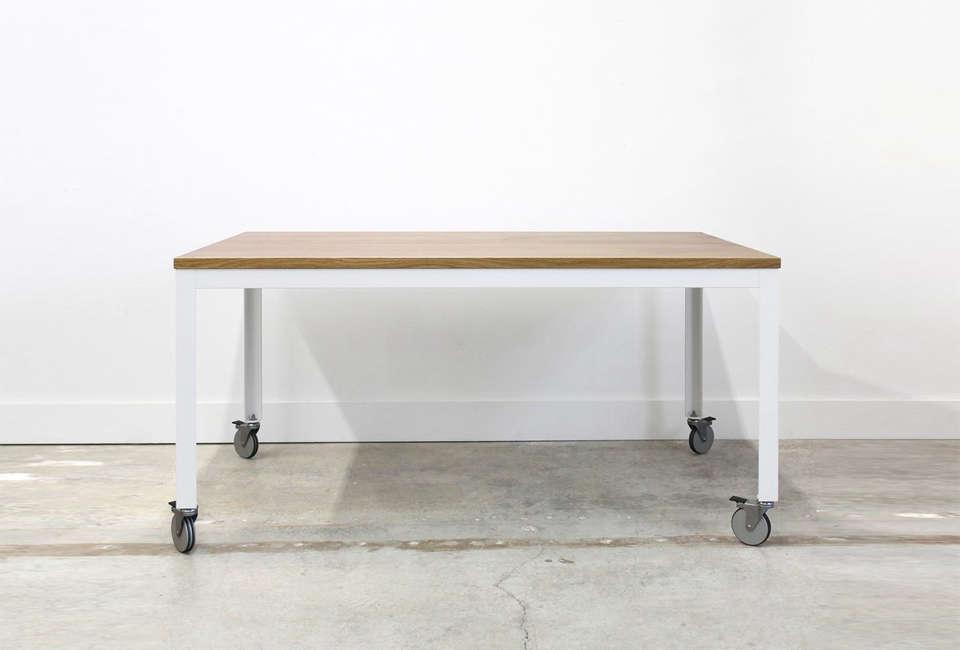 Chadhaus Farmhouse Modern Table on Wheels