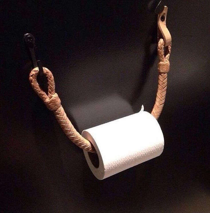 This braided saddle leather TP holder hangs in the some of the guest bathrooms at the Ace Hotel in Downtown Los Angeles. See it in situ here.