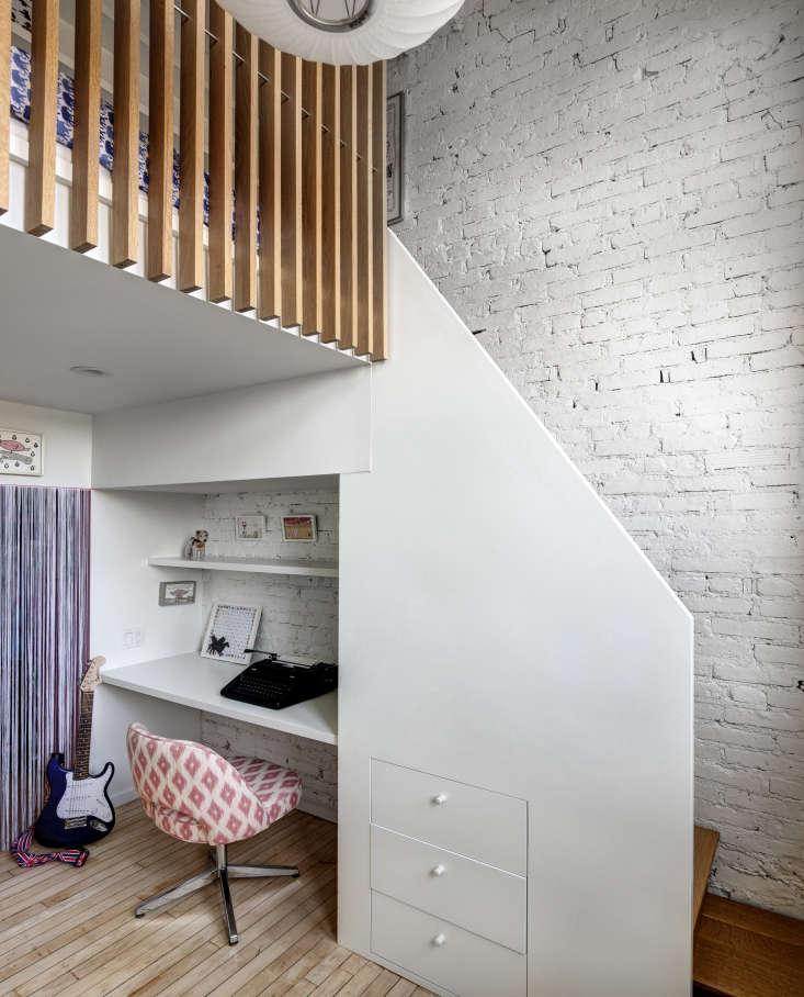 Desk Under Stairs of Jennifer Hanlin's Cobble Hill Loft