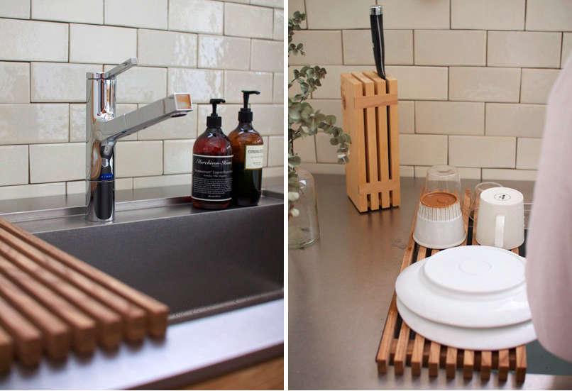 kitchen-sink-subway-tile-knife-block-wood-dish-drainer