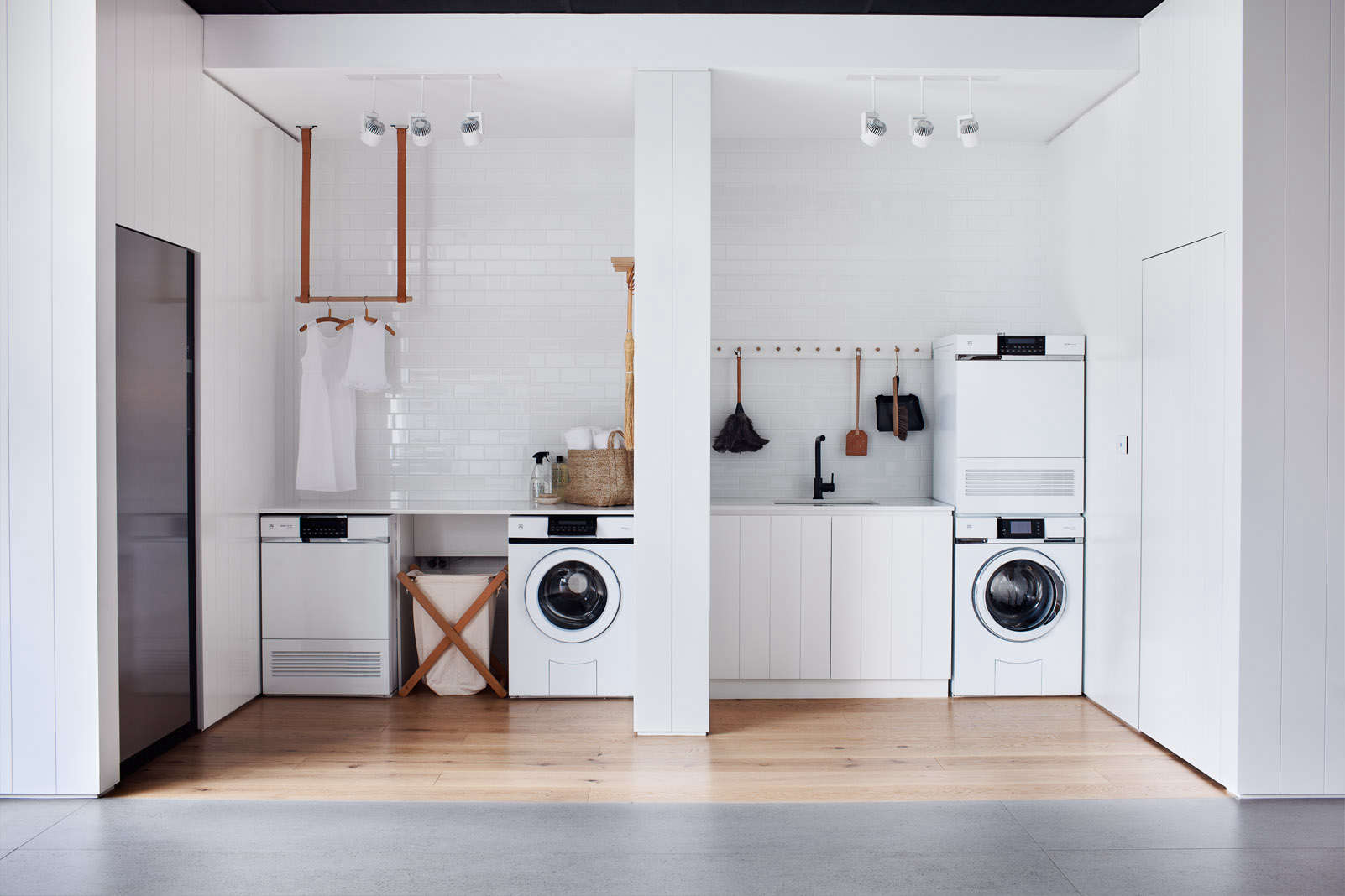 All White Laundry Room in Melbourne V-Zug Whiting Architects