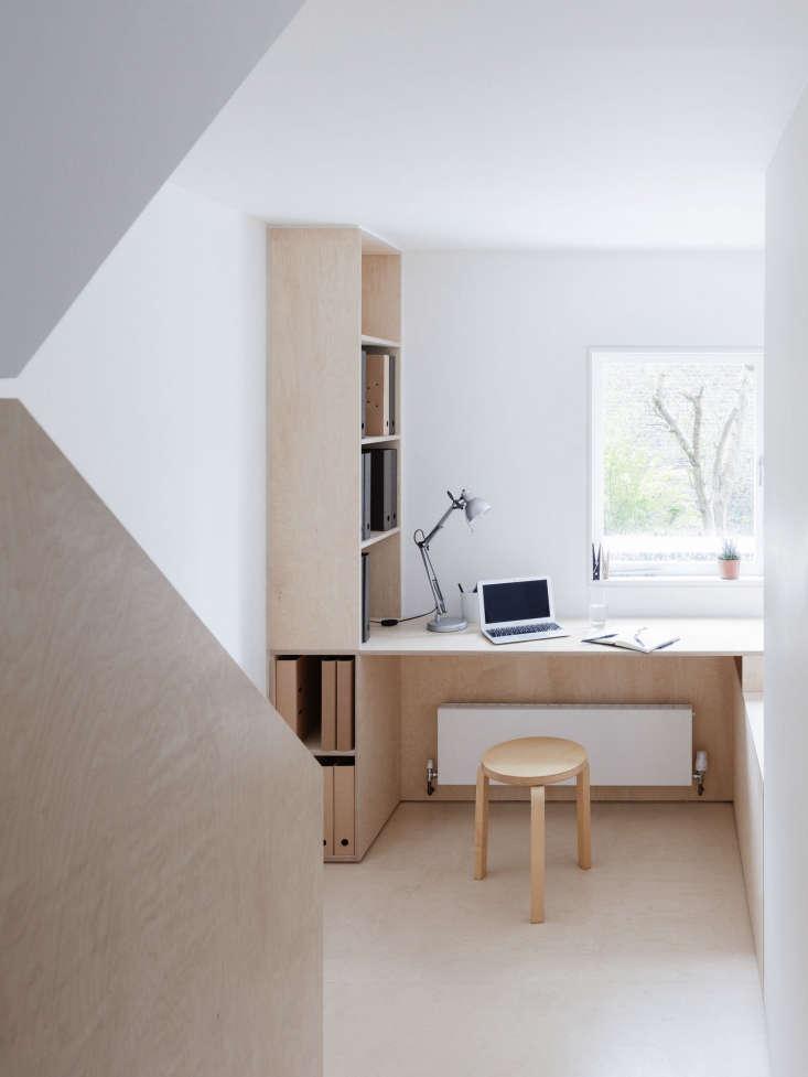 Larissa Johnston Architects Birch Plywood Desk On Landing, Rory Gardiner Photo