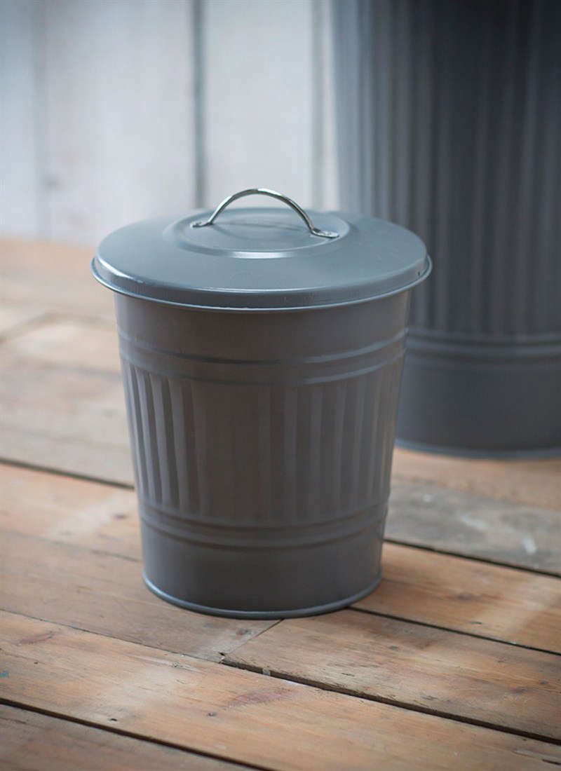 Mini enameled steel covered trash can bin in charcoal from Garden Trading England
