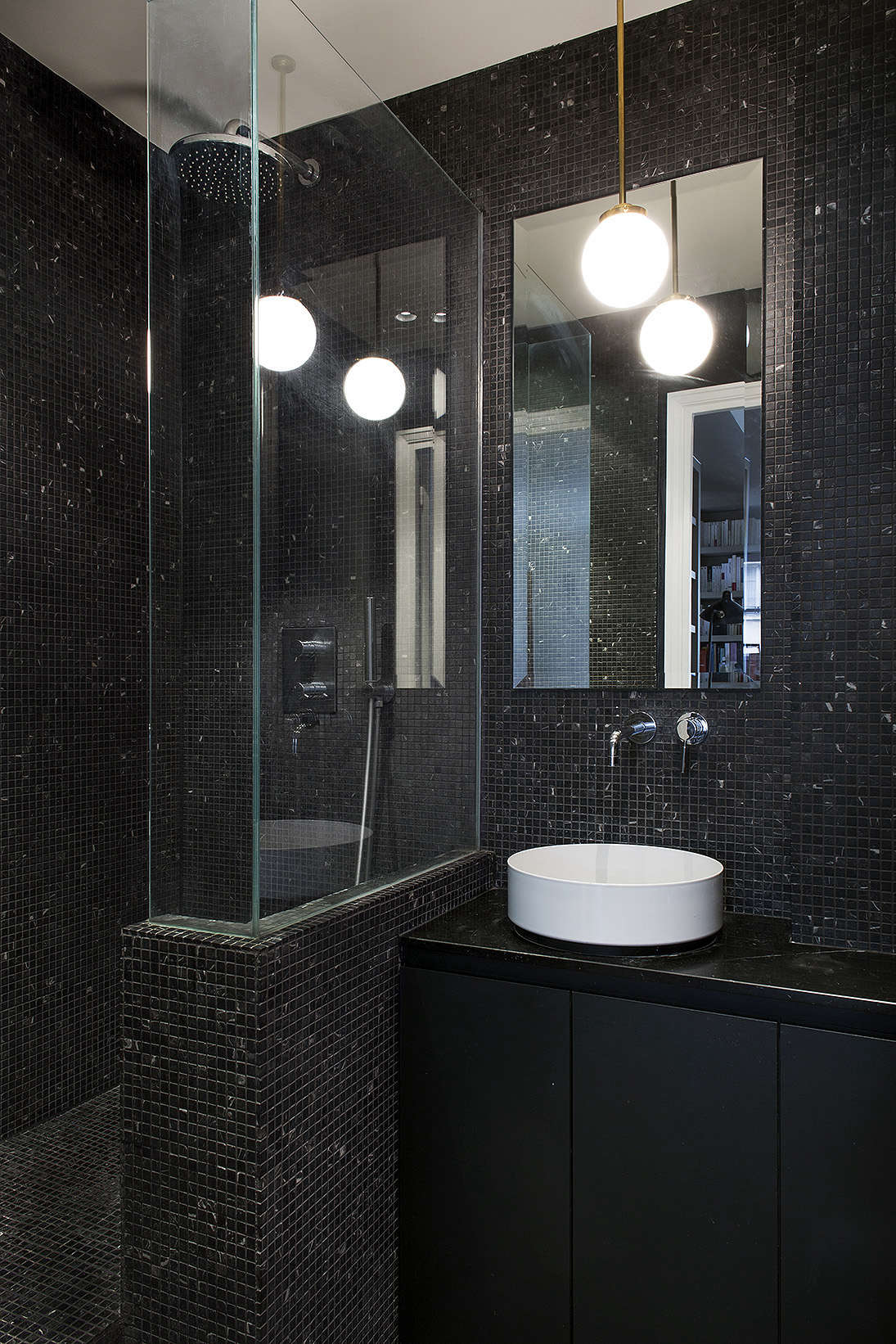 Marquina Marble Tiles And Counter Alape Glazed Enamel Sink Tiny Bathroom Paris Philippe Harden Design